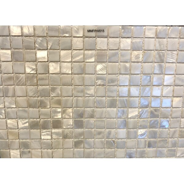Mesh Mounted 0.625 x 0.625 Authentic Polished Seashell Mosaic Tile in White by Matrix-Z