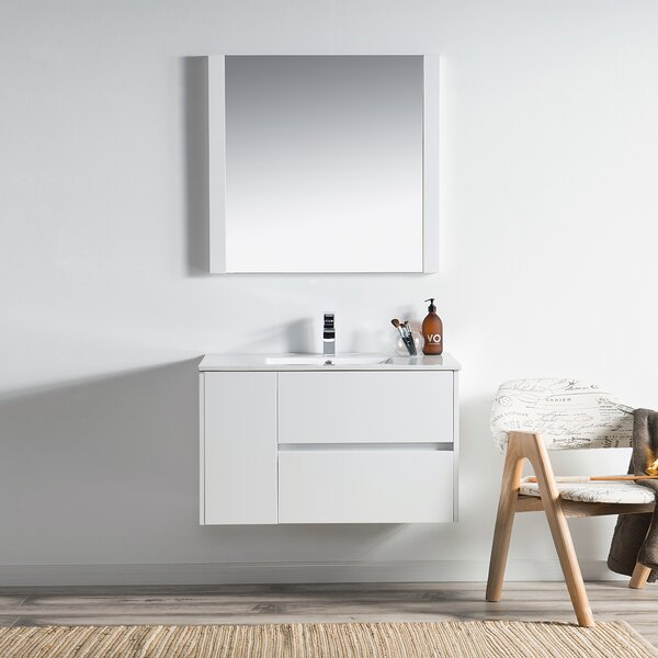Oquendo 36 Wall-Mounted Single Bathroom Vanity Set with Mirror by Orren Ellis