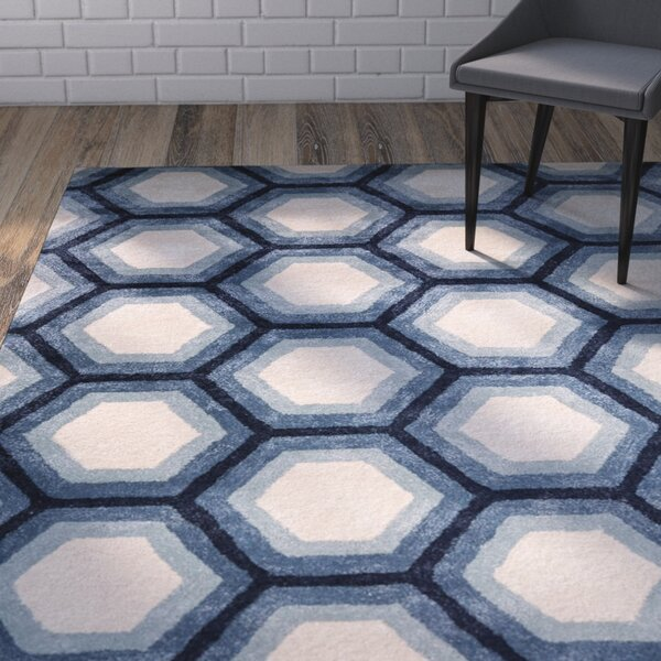 Vanbrunt Hand-Tufted Ivory/Blue Area Rug by Wrought Studio