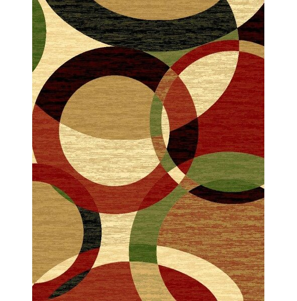 Aguirre Abstract Black Rust Area Rug by Ebern Designs