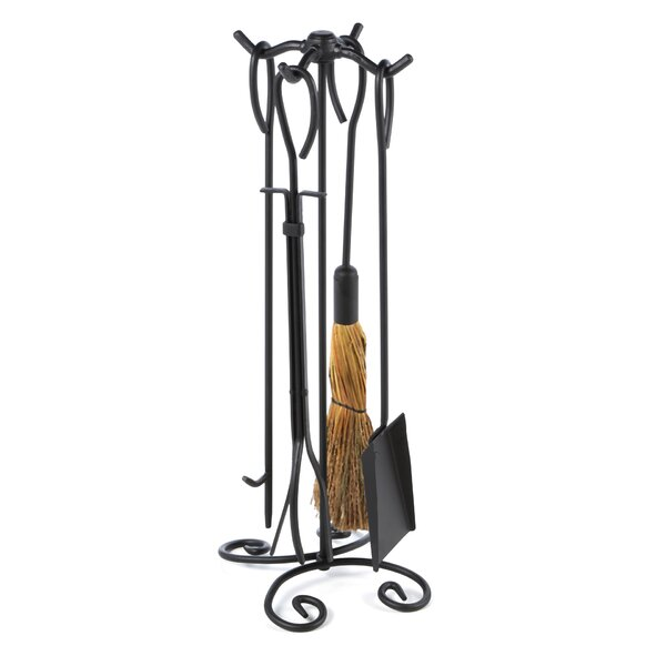 4 Piece Wrought Iron Ring Fireplace Tool Set With Stand by Uniflame Corporation