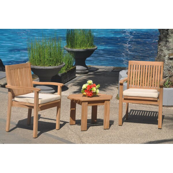 Quane 3 Piece Teak Bistro Set by Rosecliff Heights
