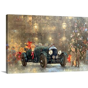 'Christmas Bentley' by Peter Miller Painting Print on Canvas by Great Big Canvas