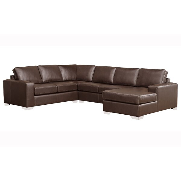 Crooke Premium Top Grain Italian Leather Right Hand Facing Sectional by Orren Ellis