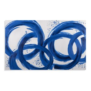 Thoroughly Modern Blue Loops Painting on Canvas by Bassett Mirror