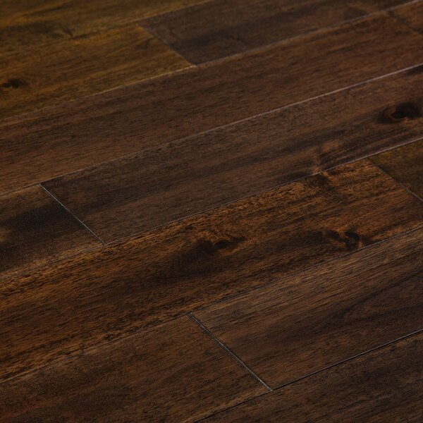 Loganne Random Width Solid Acacia Hardwood Flooring in Smooth Pekoe Brown by Welles Hardwood
