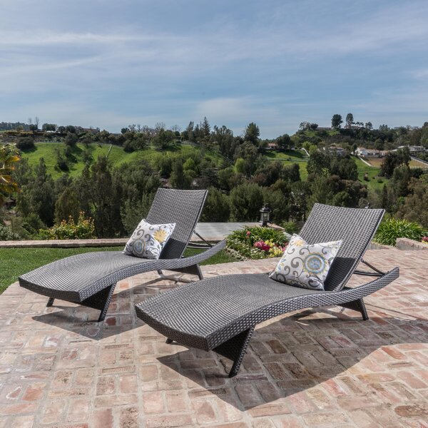 Rebello Wicker Reclining Chaise Lounge (Set of 2)