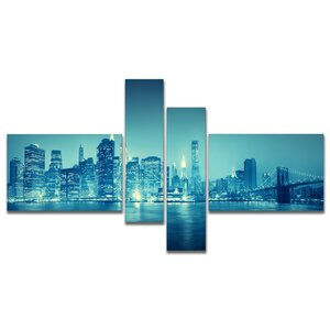'Blue New York at Night' Photographic Print Multi-Piece Image on Canvas by East Urban Home