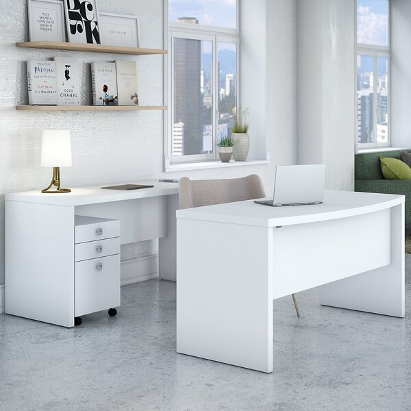 Echo 3 Piece Bow Front Desk Office Suite with Credenza Desk and Mobile File Cabinet by Kathy Ireland Office by Bush