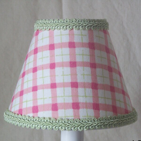 Watermelon Plaid 7 H Fabric Empire Lamp Shade ( Screw On ) in Green/White