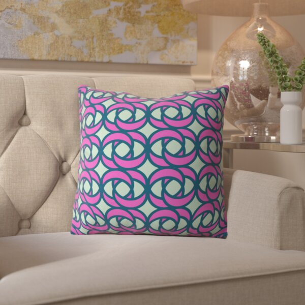 Belle Mod Rose Hibiscus Outdoor Throw Pillow by Mercer41