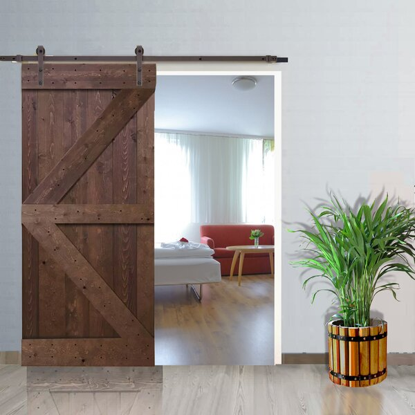 Natural Pine Solid Panelled Wood Slab Interior Barn Door by TMS