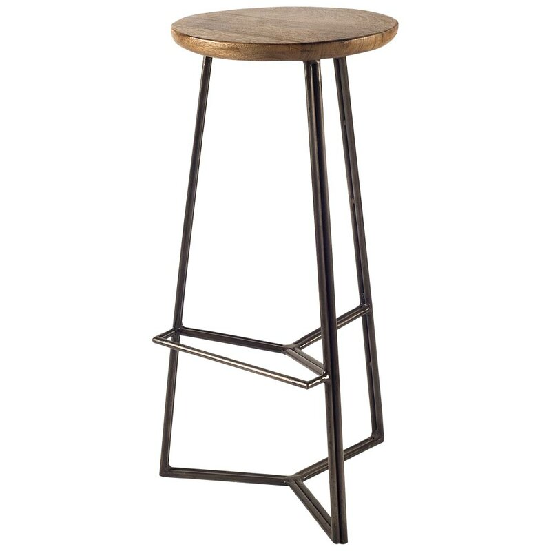 "Wood and metal 21"" Bar Stool. Steal this Look! Collected European Farmhouse Home Decor #rusticdecor #industrialbarstool"