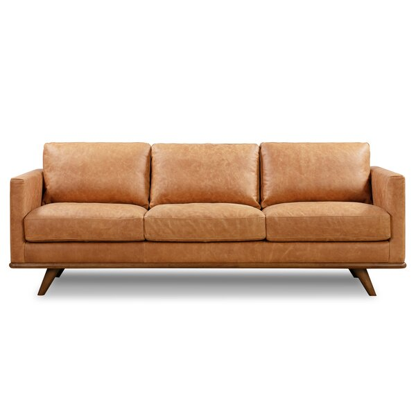Lisson Genuine Leather 85'' Square Arms Sofa By Corrigan Studio