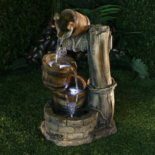 Polystone Tiered Barrel Fountain with LED Light by Alpine