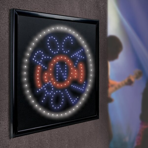Framed Rock N Roll LED Marquee Sign by Crystal Art