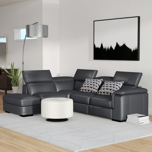Catawissa Leather Reclining Sectional By Wade Logan