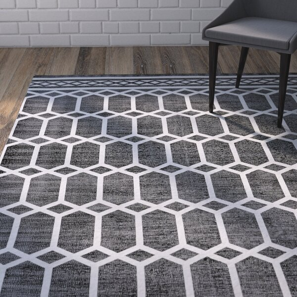 Paolucci Hand-Woven Noir Area Rug by Wrought Studio