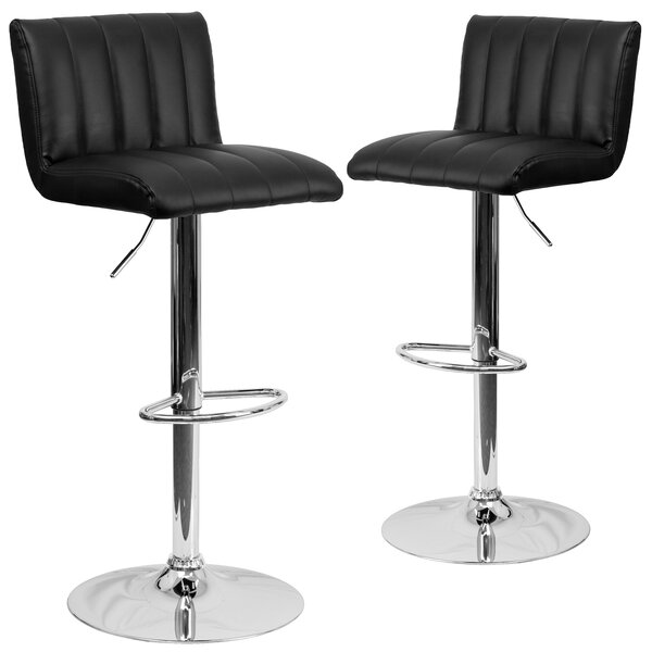 Milardo Adjustable Height Swivel Bar Stool (Set of 2) by Wrought Studio