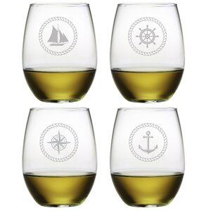 Tongavine Nautical Stemless 21 oz. Wine Glass (Set of 4)