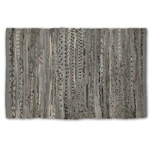 One-of-a-Kind Lecompte Striped Rag Hand-Knotted 4' x 6' Cotton Gray Area Rug by Bloomsbury Market