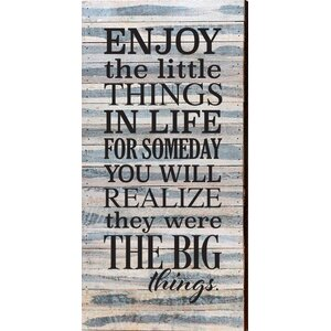 'Enjoy The Little Things in Life' Textual Art on Wood in Blue by Artistic Reflections