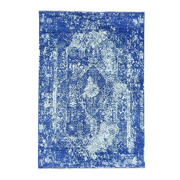 One-of-a-Kind Titus Broken Hand-Knotted Blue Area Rug by Bungalow Rose