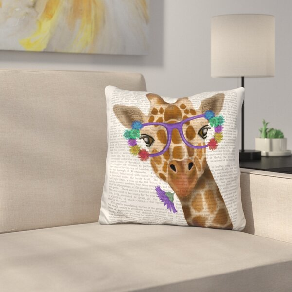 Chewing Giraffe Throw Pillow by East Urban Home