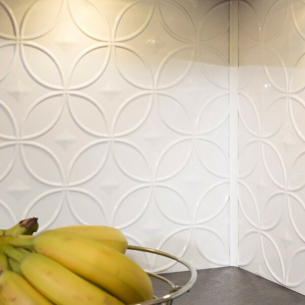 Rings 18.25 x 24.25 PVC Backsplash Panel Kit in Gloss White by Fasade