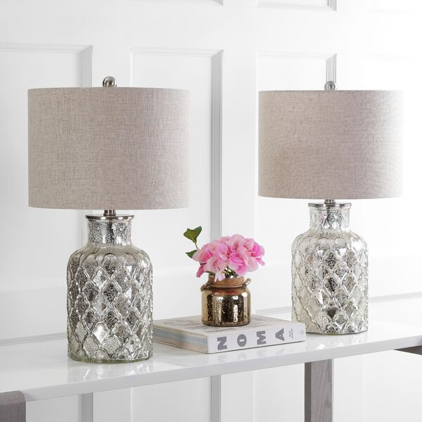 Gilles LED Glass 25 Table Lamp (Set of 2) by Highland Dunes