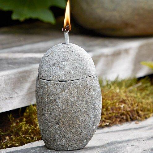Zen Stone Oil Lamp Garden Torch by VivaTerra