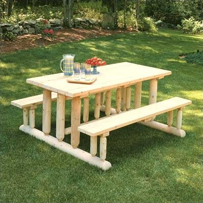 Deluxe Cedar Picnic Table by Rustic Natural Cedar Furniture