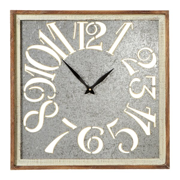 Elsworth Square with Cutout Numbers Galvanized Wall Clock by Gracie Oaks