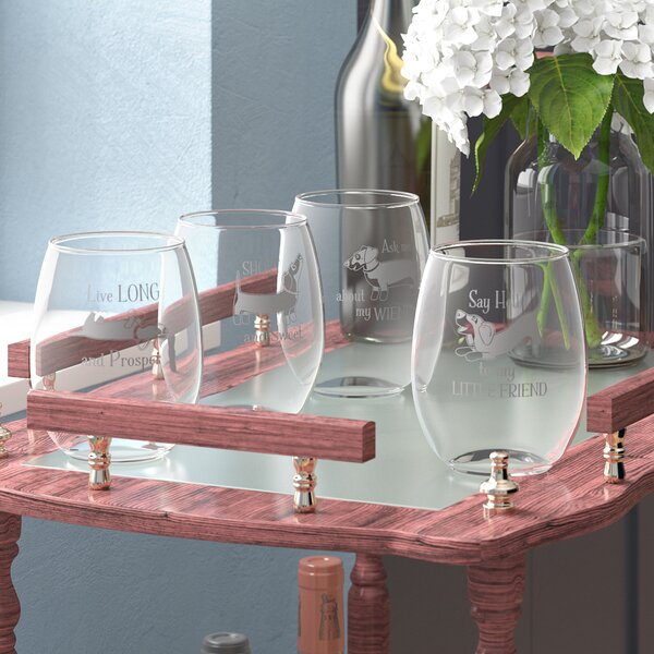 Farrelly Dachshund Assortment 21 oz. Stemless Wine Glass (Set of 4) by Three Posts