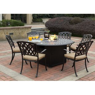Campton 7 Piece Dining Set with Firepit and Cushion
