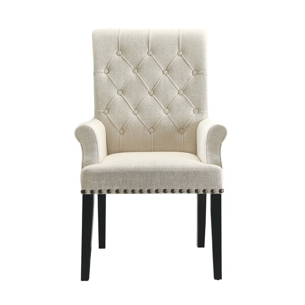 Stephon Tufted Upholstered Arm Chair in Beige by One Allium Way One Allium Way