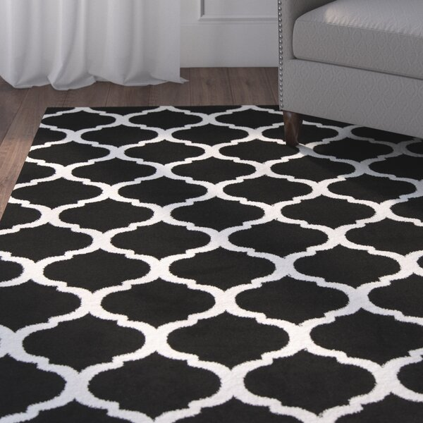 Bogdan Charcoal/White Area Rug by Charlton Home