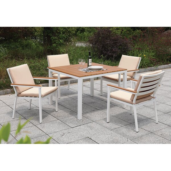 Eisenhower 5 Piece Dining Set with Cushions by Rosecliff Heights