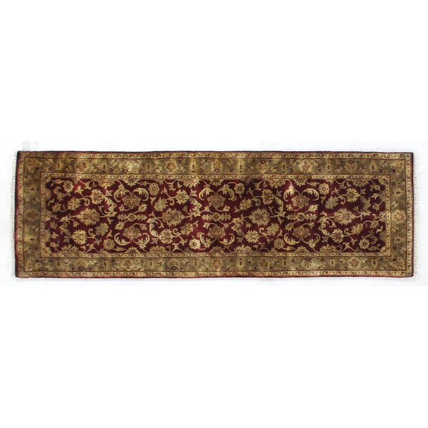 Super Kashan Hand-Knotted Wool Maroon/Green Area Rug by Exquisite Rugs