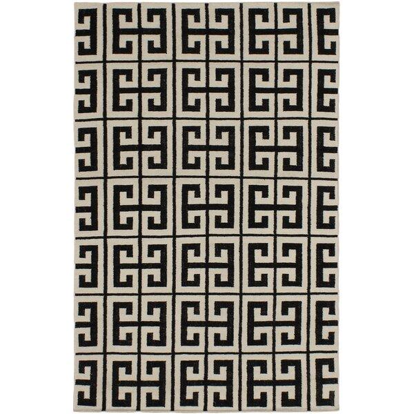 Kerala Black/Cream Geometric Rug by ECARPETGALLERY