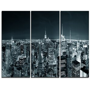 New York City Skyline at Night - 3 Piece Graphic Art on Wrapped Canvas Set by Design Art