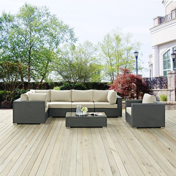 Tripp 6 Piece Rattan Sunbrella Sectional Seating Group with Cushions by Brayden Studio