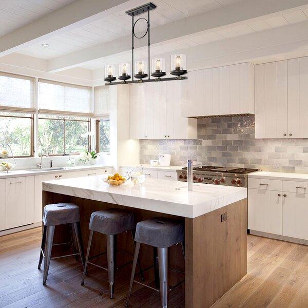 Dennis Retro Kitchen Linear Island Pendant Lighting, Clear Glass Shade, Black Finish by Gracie Oaks