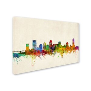 Nashville Watercolor Skyline by Michael Tompsett Graphic Art on Wrapped Canvas by Trademark Fine Art