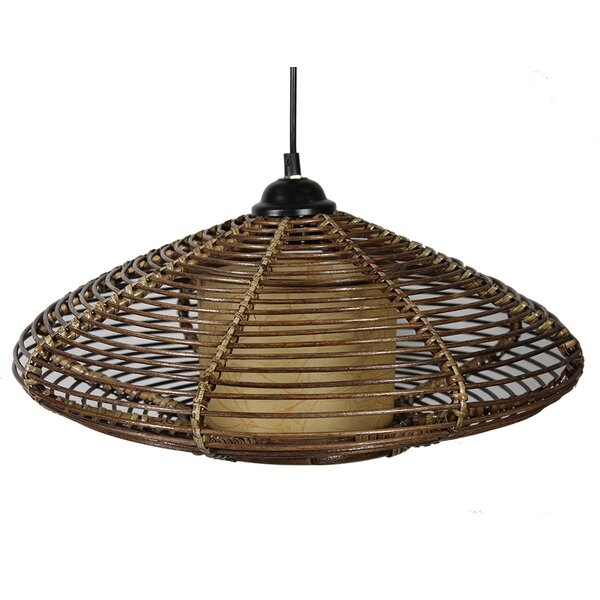 Mortimer Rattan 1-Light Pendant by Bay Isle Home