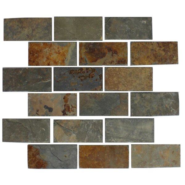 Rust 2 x 4 Slate Mosaic Tile in Gray/Brown by Susan Jablon
