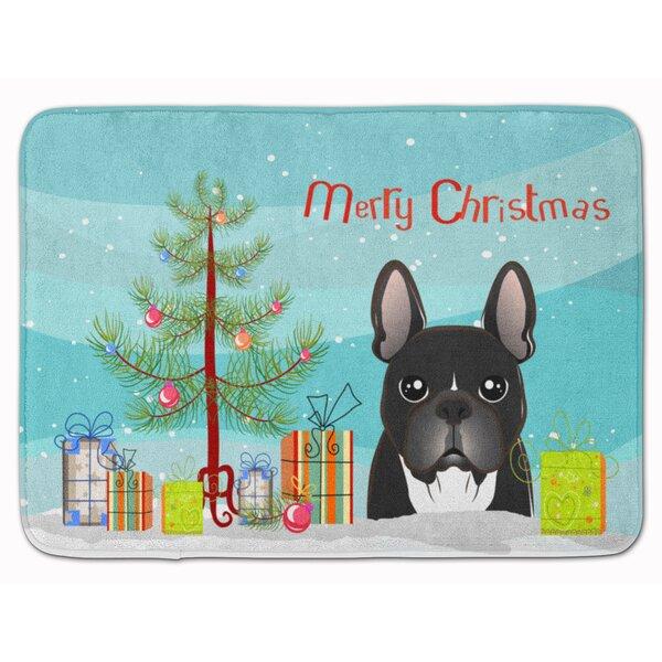 the holiday aisle christmas tree and french bulldog memory foam bath rug wayfair