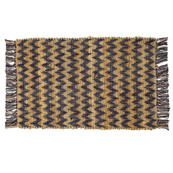 Hammons Chevron Hand-Woven Blue/Brown Area Rug by Highland Dunes