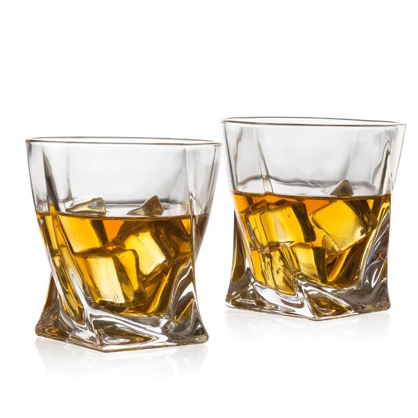 Twist Luxury Elegant 12 oz. Glass Whiskey Glass (Set of 2) by The Wine Savant