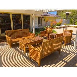 Teak Outdoor Patio Furniture 6 Piece Deep Seating Group With Sunbrella  Cushion